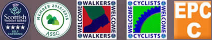STB Self Catering 4 star logo, ASSC Logo, Walkers Welcome & Cyclists Welcome logos